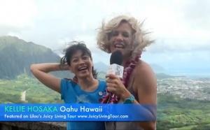 Meeting Kellie Hosaka on windy mountain top of Oahu, Hawaii