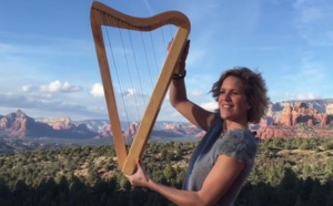 Playing harp with the wind and angels at submarine rock in Sedona