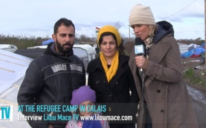 Family journey in refugee camp in Calais, France